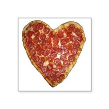 "heart pizza Square Sticker 3"" x 3"""