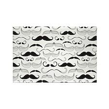 Mustache Black Rectangle Magnet