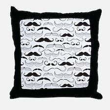 Mustache Black Throw Pillow