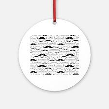 Mustache Black Round Ornament