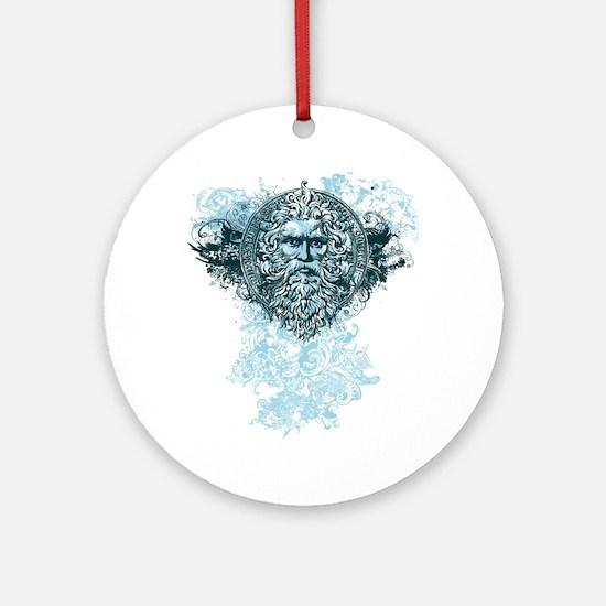 Poseidon King of the Sea Round Ornament