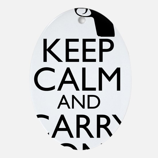 Keep Calm and Carry On Oval Ornament