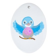 Bluebird Of Happiness Oval Ornament