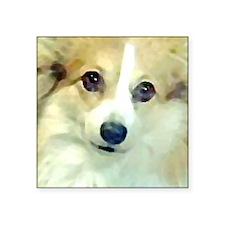 "Pembroke Corgi Face Square Sticker 3"" x 3"""