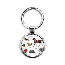 Kentucky State Animals Round Keychain