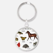 Kentucky State Animals Round Keychain