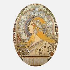 Mucha La Plume Art Nouveau Oval Ornament