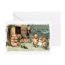 Drunken Pig Fitness Pub Greeting Card