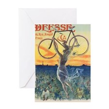 Vintage Paris France Bicycle Poster Greeting Card