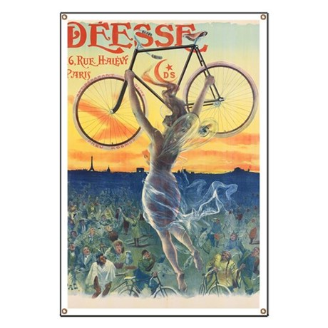 Vintage Paris France Bicycle Poster Banner