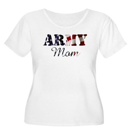 Army Mom Flag Women's Plus Size Scoop Neck T-Shirt