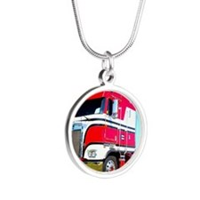 1985 Kenworth Cabover K100 Silver Round Necklace