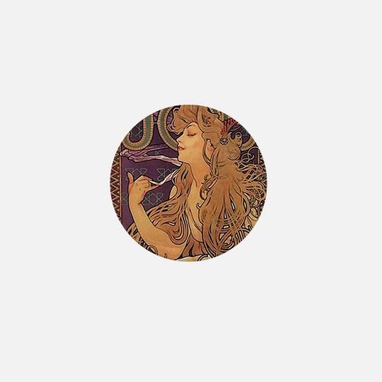 Mucha Poster Job Paris Art Nouveau Mini Button