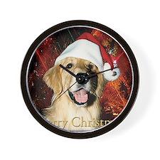 Golden Retriever Christmas Wall Clock