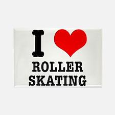 I Heart (Love) Roller Skating Rectangle Magnet
