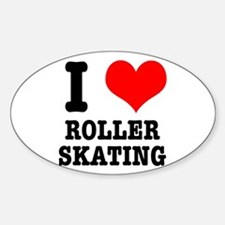 I Heart (Love) Roller Skating Oval Decal