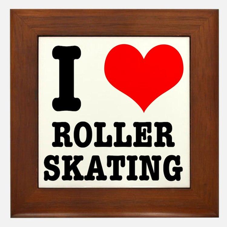 I Heart (Love) Roller Skating Framed Tile