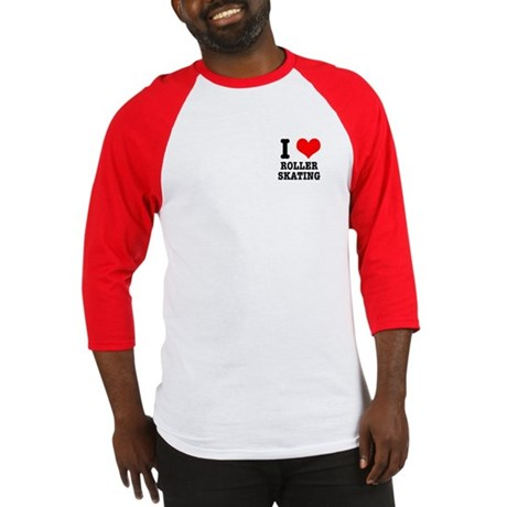 I Heart (Love) Roller Skating Baseball Jersey