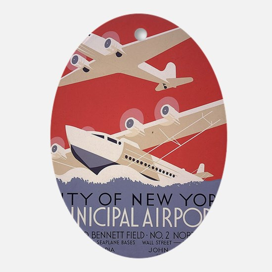 Retro Airplanes New York Oval Ornament