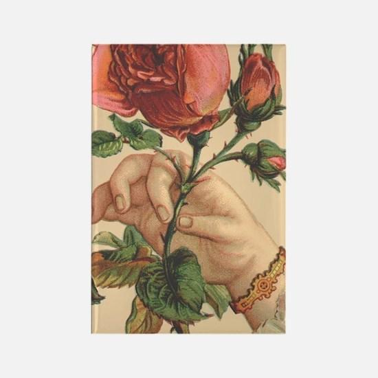 Vintage Rose Rectangle Magnet