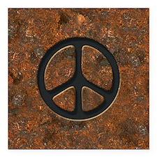 "rusty-peace-LG Square Car Magnet 3"" x 3"""