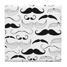Mustache Black Tile Coaster
