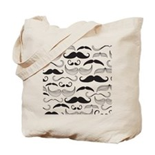 Mustache Black Tote Bag