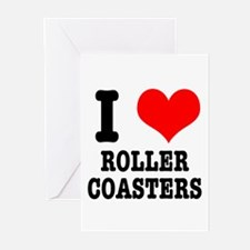 I Heart (Love) Roller Coasters Greeting Cards (Pac