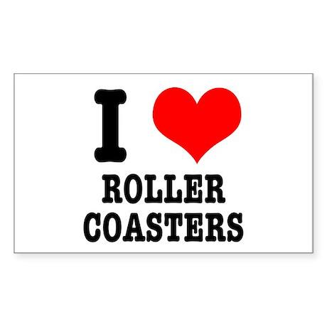 I Heart (Love) Roller Coasters Sticker (Rectangula