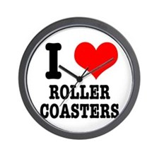 I Heart (Love) Roller Coasters Wall Clock
