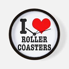 I Heart (Love) Roller Coasters Wall Clock