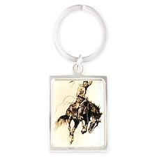 Rodeo Rider Bucking Bronco Portrait Keychain