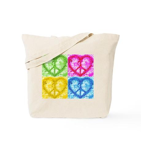 Pop Peace Hearts Tote Bag