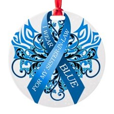 I Wear Blue for my Sister in Law Round Ornament