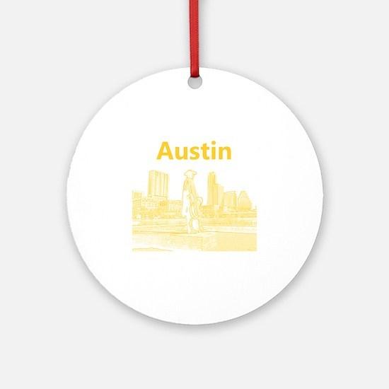 Austin_12x12_StevieRayVaughan_Yello Round Ornament