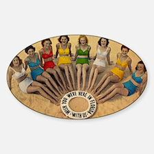 Retro Beach Beauties Sticker (Oval)
