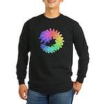 Day-Glo Flowers Long Sleeve Dark T-Shirt