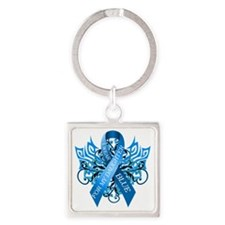 I Wear Blue for my Daughter Square Keychain