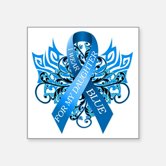 """I Wear Blue for my Daughter Square Sticker 3"""" x 3"""""""