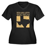 Talk Texas Women's Plus Size V-Neck Dark T-Shirt