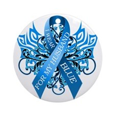 I Wear Blue for my Husband Round Ornament