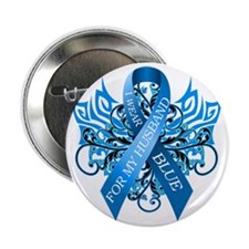 """I Wear Blue for my Husband 2.25"""" Button"""