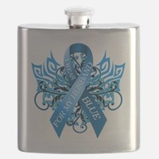 I Wear Blue for my Husband Flask