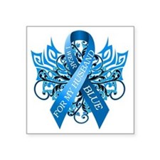 "I Wear Blue for my Husband Square Sticker 3"" x 3"""