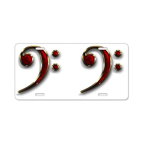 Bass Clef Double Aluminum License Plate