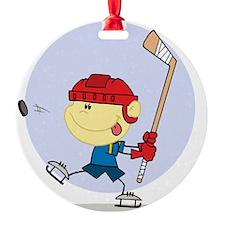 Hockey Kid Round Ornament