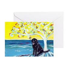 Black Labrador art deco tree ocean Greeting Card