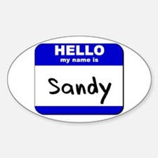 hello my name is sandy Oval Decal