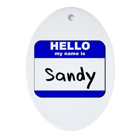 hello my name is sandy Oval Ornament
