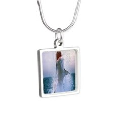 shark jump Silver Square Necklace